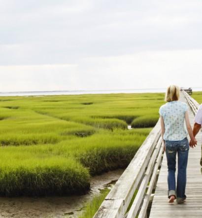 Couple on walkway in marshland